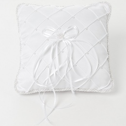 White Bead Quilted Square Satin Ring Cushion
