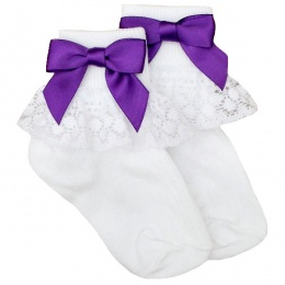 Girls White Lace Socks with Cadbury Purple Satin Bows