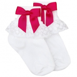 Girls White Lace Socks with Fuchsia Pink Satin Bows