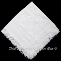 White Acrylic Baby Christening Baptism Patterned Fringed Shawl