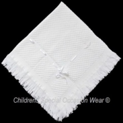 White Baby Satin Ribbon Trim Christening Shawl
