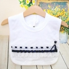 White Cotton Bib with Lace & Navy Ribbon