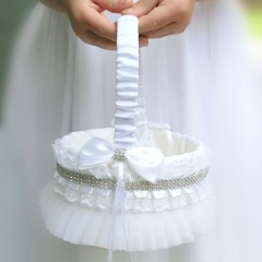 Girls White Diamante & Lace Flower Petal Basket