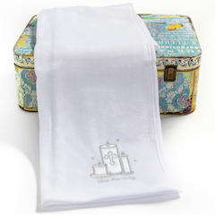 White Bless This Baby Christening Blanket with Cross & Candles