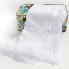 White Ribbon Trim Baby Christening Shawl with Fringed Edge
