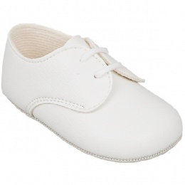 Baby Boys White Matt Lace Pram Shoes 'Baypods'