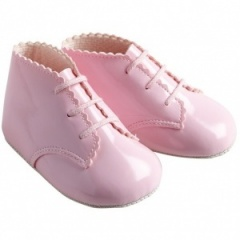 Baby Girls Pink Patent Lace Up Baypods Pram Boots