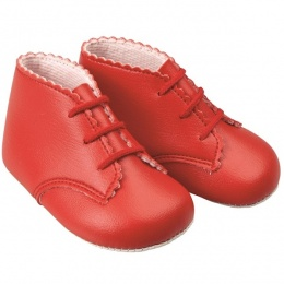Baby Girls Red Matt Lace Up Baypods Pram Boots