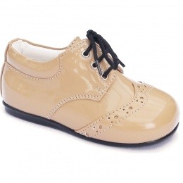 Boys Camel Patent Brogue Lace Up Shoes