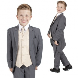 Boys Grey & Champagne Swirl 6 Piece Slim Fit Tail Jacket Suit
