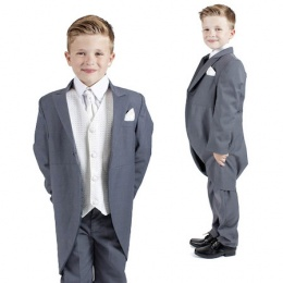 Boys Grey & Ivory 6 Piece Slim Fit Tail Jacket Suit