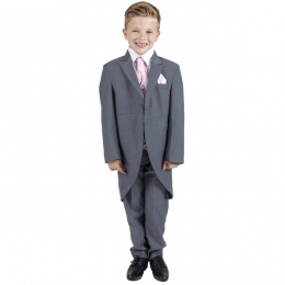 Boys Grey & Pink 6 Piece Slim Fit Tail Jacket Suit