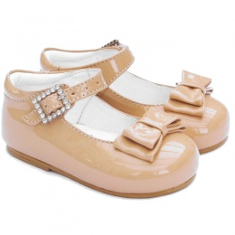 Girls Camel Patent Double Bow Special Occasion Shoes