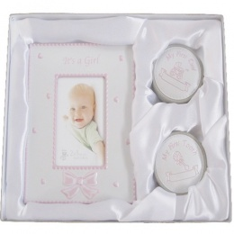 Baby It's a Girl Photo Frame & First Tooth & Curl Keepsake Gift Set