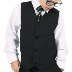 Boys Plain Black Formal Suit Waistcoat