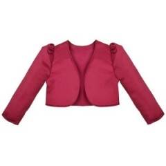 Girls Burgundy Satin Long Sleeved Bolero