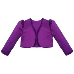 Girls Cadbury Purple Satin Long Sleeved Bolero