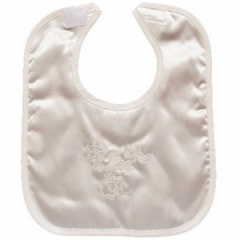 Ivory Satin My Christening Day Velcro Bib