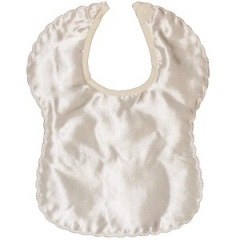 Ivory Satin Scalloped Edge Plain Bib