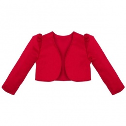 Girls Red Satin Long Sleeved Bolero