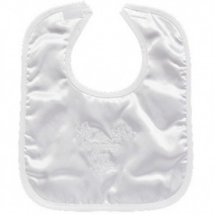 White Satin My Christening Day Velcro Bib