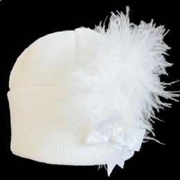 Baby Girls White Marabou Feather & Bow Plume Hat