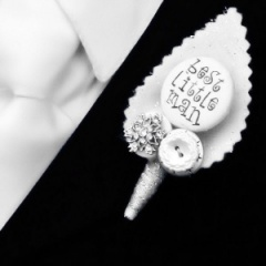 Boys Winter White Sparkly Best Little Man Buttonhole