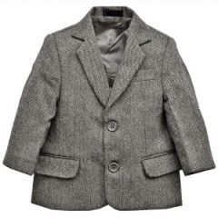 Boys Grey Tweed Herringbone Jacket
