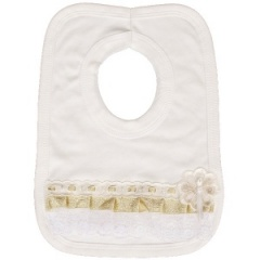 Ivory & Gold Cotton Bib with Lace & Ribbon