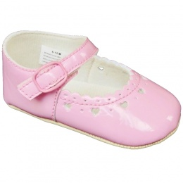 Baby Girls Pink Patent Heart Pram Shoes