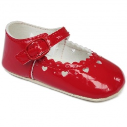 Baby Girls Red Patent Heart Pram Shoes