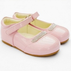 Girls Pink Patent 'Princess' Diamante Special Occasion Shoes