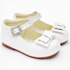 Girls White Patent Double Bow Special Occasion Shoes