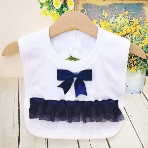 White Cotton Bib with Navy Bow & Frilly Organza