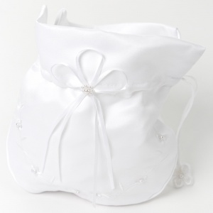 Girls White Duchess Satin Floral Dolly Bag