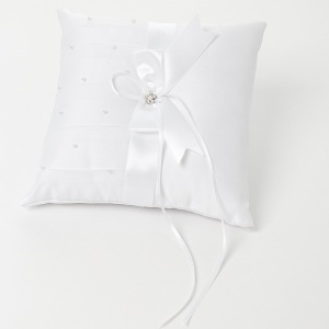 White Ribbon Bow Square Satin Ring Cushion