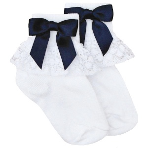 Girls White Lace Socks with Navy Satin Bows