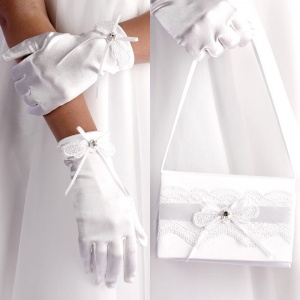Girls White Lace & Ribbon Satin Bag & Gloves Set - Emma & Maria