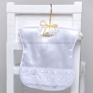 White Lace & Rose Satin Popper Bib