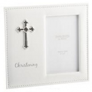 White Leather Photo Frame with Silver Cross Christening Gift