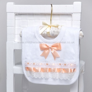 White Cotton Bib with Lace & Peach Satin Ribbon Bow