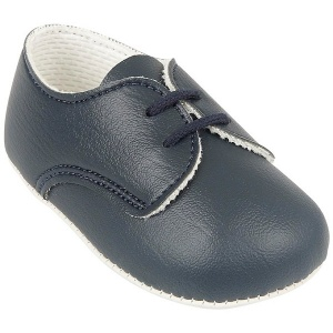 Baby Boys Navy Matt Lace Pram Shoes 'Baypods'