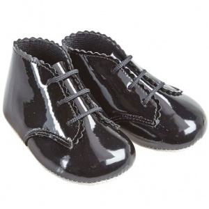 Baby Black Patent Lace Up Baypods Pram Boots