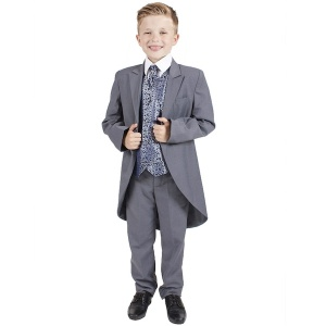 Boys Grey & Navy Swirl 6 Piece Slim Fit Tail Jacket Suit
